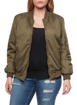 Plus Size Padded Bomber Jacket - 3884051061734