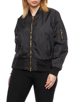 Plus Size Solid Bomber Jacket with Three Pockets - 3884051061735