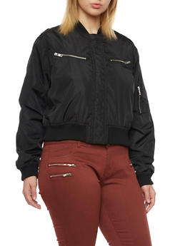 Plus Size Shiny Bomber Jacket with Zipper Pockets - 3884051062523