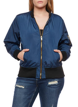 Plus Size Bomber Jacket with Ribbed Trim - 3884051062524