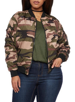 Plus Size Bomber Jacket in Camo Print - 3884051063180