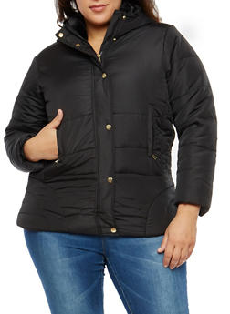 Plus Size Hooded Puffer Jacket - 3884051064424
