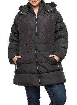 Plus Size Long Puffer Jacket - 3884051064426