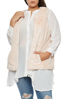 Plus Size Soft Faux Fur Vest - 3884051064490