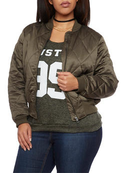 Plus Size Quilted Bomber Jacket - OLIVE - 3884051064510