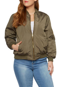 Plus Size Bomber Jacket with Quilted Lining - 3884051065100