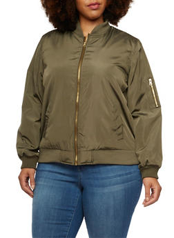 Plus Size Padded Bomber Jacket - OLIVE - 3884051065101