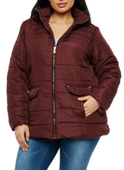 Plus Size Puffer Coat with Faux Fur Trimmed Hood - 3884051065197