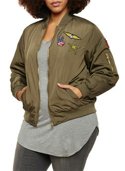 Plus Size Bomber Jacket with Patches - OLIVE - 3884051065222