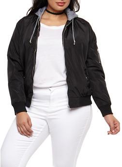 Plus Size Hooded Zip Up Bomber Jacket - BLACK - 3884051065500