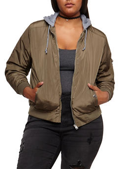 Plus Size Hooded Zip Up Bomber Jacket - OLIVE - 3884051065500