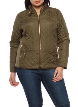 Plus Size Quilted Barn Jacket - OLIVE - 3884051065934