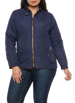 Plus Size Quilted Barn Jacket - 3884051065934