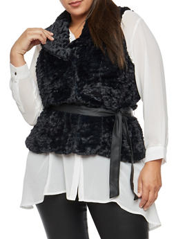 Plus Size Faux Fur Belted Vest - BLACK - 3884051066900