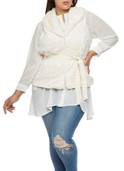 Plus Size Faux Fur Belted Vest - WHITE - 3884051066900