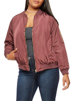 Plus Size Zip Up Bomber Jacket - 3884051067210