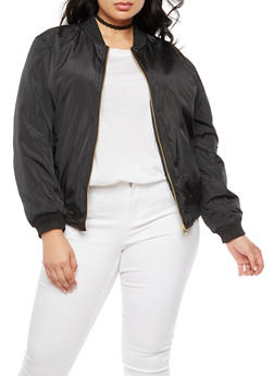 Plus Size Solid Bomber Jacket - BLACK - 3884051067250