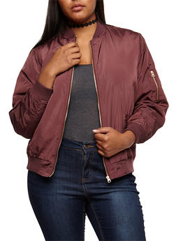 Plus Size Solid Bomber Jacket - 3884051067250