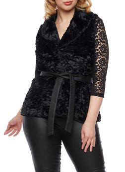 Plus Size Faux Fur Vest with Belt - 3884051067276