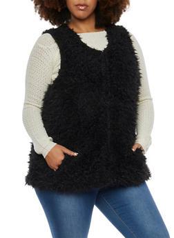Plus Size Faux Fur Vest - BLACK - 3884051067426