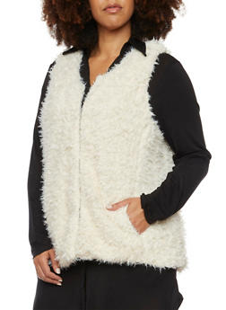 Plus Size Faux Fur Vest - 3884051067426