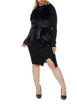 Plus Size Faux Fur Vest with Faux Leather Belt - BLACK - 3884051067521