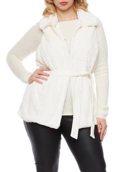 Plus Size Faux Fur Vest with Faux Leather Belt - WHITE - 3884051067521