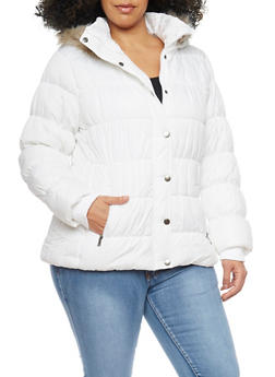 Plus Size Fur Trim Hood Puffer Jacket - 3884051067701