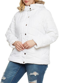 Plus Size Puffer Jacket with Faux Fur Trimmed Hood - WHITE - 3884051067704