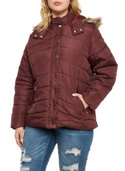Plus Size Puffer Jacket with Faux Fur Trimmed Hood - 3884051067704