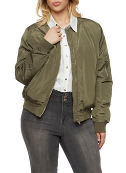 Plus Size Satin Bomber Jacket with Button Pockets - 3884054268720