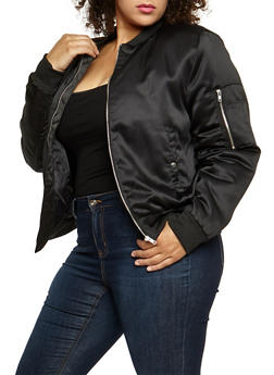 Plus Size Satin Bomber Jacket - BLACK - 3884054268873