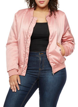 Plus Size Satin Bomber Jacket - MAUVE - 3884054268873
