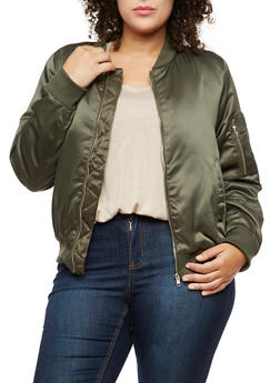 Plus Size Satin Bomber Jacket - 3884054268873
