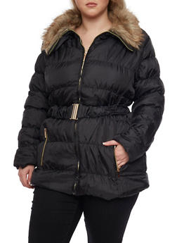 Plus Size Belted Faux Fur Collar Puffer Coat - 3884064212997