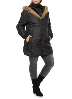 Plus Size Coat with Faux Fur Hood - 3884064213021