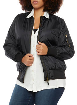 Plus Size Padded Bomber Jacket - BLACK - 3884064213071