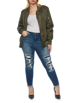 Plus Size Padded Bomber Jacket - OLIVE - 3884064213071