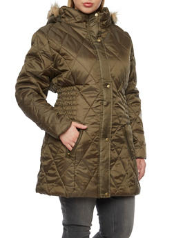 Plus Size Quilted Coat with Faux Fur Trim - 3884064218910