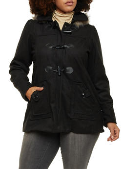Plus Size Toggle Wool Coat with Fur Hood - 3885051060440
