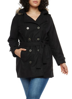 Plus Size Wool Peacoat with Faux Fur Hood - BLACK - 3885051061741