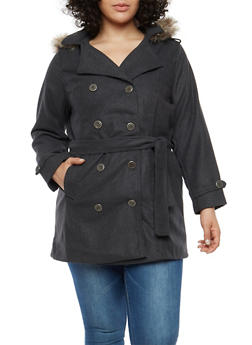 Plus Size Wool Peacoat with Faux Fur Hood - CHARCOAL - 3885051061741