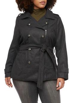 Plus Size Wool Peacoat with Asymmetrical Zipper - 3885051062729