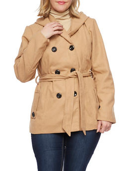 Plus Size Hooded Belt Peacoat - 3885051062745