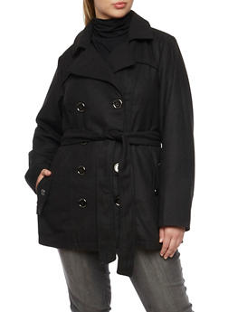 Plus Size Peacoat with Belt - 3885051063034