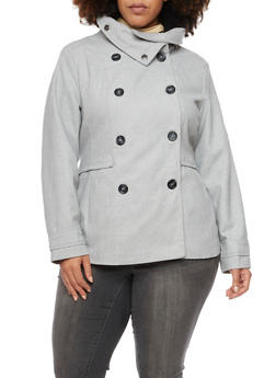 Plus Size Peacoat with Funnel Neck - 3885051064240