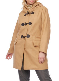 Plus Size Toggle Coat with Attached Hood - 3885051065073