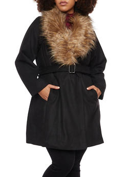 Plus Size Felt Coat with Removable Faux Fur Collar - 3885051065184