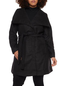 Plus Size Felt Coat with Oversize Collar - 3885051065187