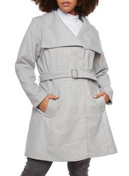 Plus Size Felt Coat with Oversize Collar - 3885051065187